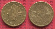 USA 20 Dollars Goldmünze Double Eagle USA 20 Dollars Liberty, Frauenkopf, Double Eagle 1883 S Gold, sehr schön