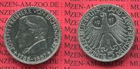Bundesrepublik Deutschland, Germany FRG 5 DM Gedenkmünze Commemorative Coin BRD 5 DM 1957 100. Todestag von Eichendorff .625 Silber, ca. 11,2 g, 29 mm