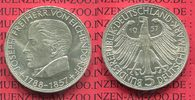 Bundesrepublik Deutschland 5 DM Gedenkmünze Silber 5 DM 1957 J, 100. Todestag von Joseph Freiherr von Eichendorff 1788 - 1857