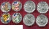 "USA 4 x 1 Dollar Silver Eagle Farbmünzen USA 2000 Satz ""Vier Jahreszeiten"" 4 x Silver Eagle Farbmünzen Box Zert"