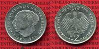 Bundesrepublik Deutschland 2 DM Fehlprägung 2 DM 1970 G, Theodor Heuss Fehlprägung, Dünner Schrötling 3,37 g, 0,99 mm dick