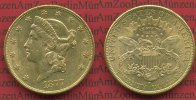 USA 20 Dollars Goldmünze Double Eagle USA 20 Dollars Liberty, Frauenkopf, 1877 S Gold fast vz,