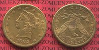 USA 10 Dollars Dollar Eagle Liberty, Frauenkopf  Coronet Head Gold