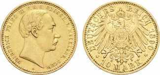 10 Mark 1890 A. MECKLENBURG-SCHWERIN Fried...