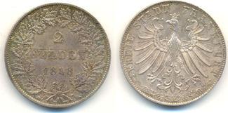 2 Gulden 1848 Frankfurt Stadt:  fast Stempelglanz, hübsche zarte Patina, feine Erhaltung !