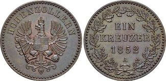 Für Hohenzollern, CU-Kreuzer 1 1852  A Bra...