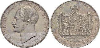 Doppeltaler 1840  A Reuss-Jüngerer Linie zu Ebersdorf Heinrich LXXII. 1822-1848. Min.Kr., kl.Rf., schöne Patina, sehr selten, vorzüglich