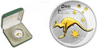Australia 1 Dollar 2005 Bu in Original Box with COA Silver Kangaroo GOLD... 84,50 EUR No additional tax+  9,50 EUR shipping