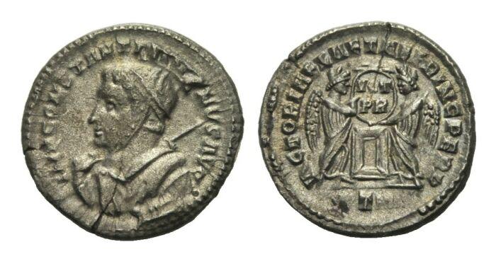 Billon Argenteus 317 - 318 RÖMISCHE KAISERZEIT Constantinus I., 306-337 aEF