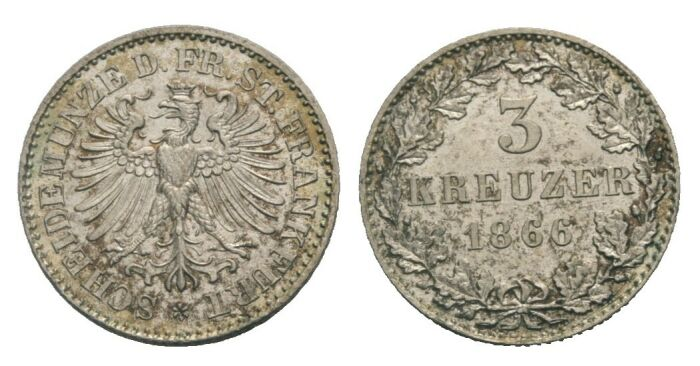 3 Kreuzer 1866 Frankfurt Stadtadler/Wert CH UNC