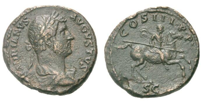 As 129 RÖMISCHE KAISERZEIT Hadrianus, 117-138 VF