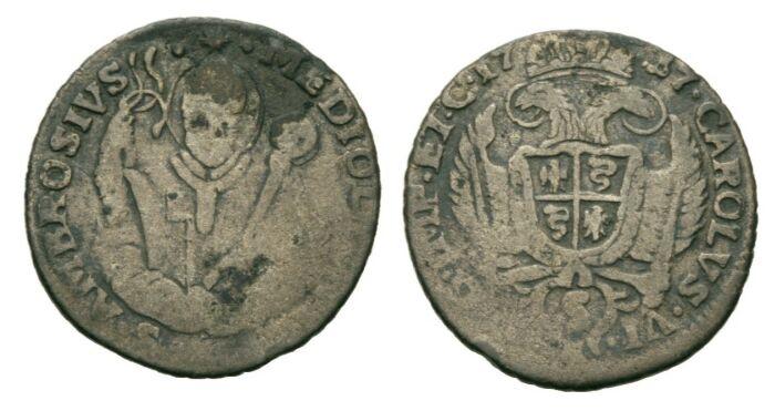 5 Soldi 1737 RDR Lombardei Milano Karl VI., 1711 - 1740 VF-