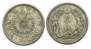 Japan 20 Sen  1906 Kratzer, sonst ss+ Mutsuhito 1867 - 1912  35,00 EUR 