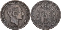 10 Centimos 1877 OM Spanien Alfonso XII., 1874-85 ss  10,00 EUR  +  3,00 EUR shipping