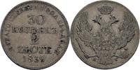 30 Kopeke = 2 Zloty 1839 Russland Polen Nikolaus I., 1825-1855 ss  50,00 EUR  +  3,00 EUR shipping