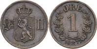 1 Öre 1877 Norwegen Oscar II., 1872-1907 ss+ kl. Randfehler  25,00 EUR  +  3,00 EUR shipping