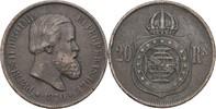 20 Reis 1870 Brasilien Petrus II., 1831-89 ss  9,00 EUR  +  3,00 EUR shipping
