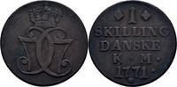 1 Skilling 1771 Dänemark Christian VII., 1766-1808 ss  25,00 EUR  +  3,00 EUR shipping