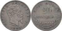 20 Centesimi 1863 MBN Italien Vittorio Emanuele II., 1861-78 ss  15,00 EUR  +  3,00 EUR shipping