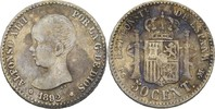 50 Centimos 1892 (92) PGM Spanien Alfonso XIII., 1886-1931 ss  15,00 EUR  +  3,00 EUR shipping