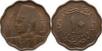 10 Milliemes 1938 Ägypten Farouk, 1936-52 vz+ Kratzer  10,00 EUR  +  3,00 EUR shipping