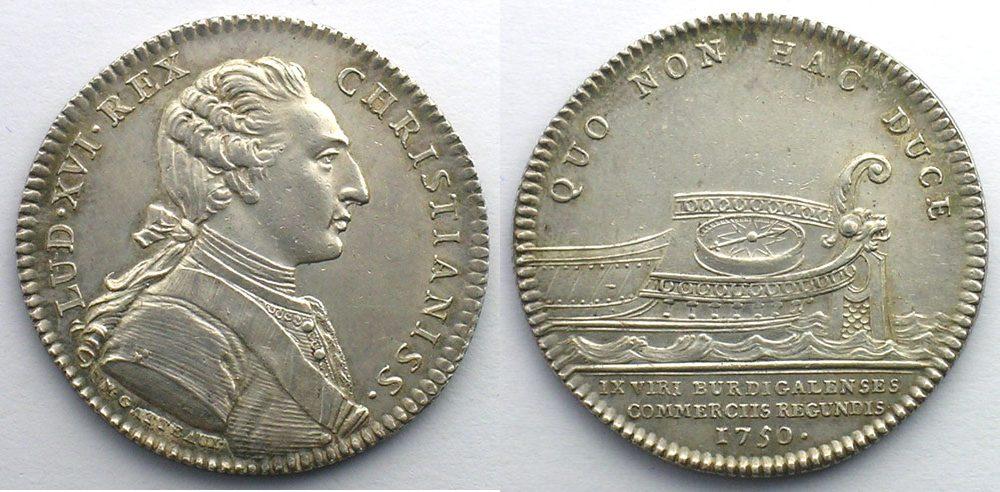 1750 tokens and medals jeton rond en argent louis xvi for Chambre de commerce bordeaux