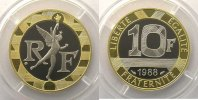 10 Francs  1988   or blanc/or jaune    BE