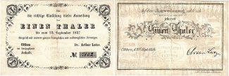 Cöthen 1 Thaler 1857 leicht gebraucht 1 Th.