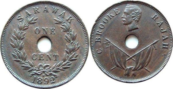 cent 1892 Sarawak 1 cent 1892 -- Sarawak EF