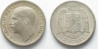 1935 Rumänien RUMÄNIEN 250 Lei 1935 CAROL II. Silber RAR!!! # 95747 vz+