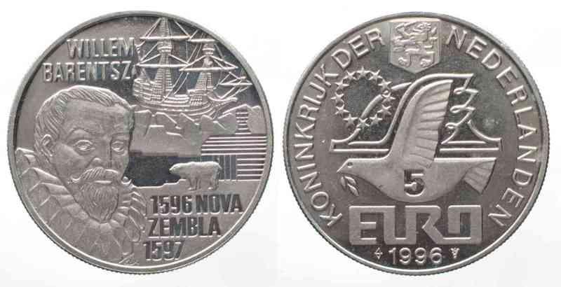 Niederlande NETHERLANDS 5 Euro 1996 WILLEM BARENTSZ Cu-Ni UNC # 59605  1996 st