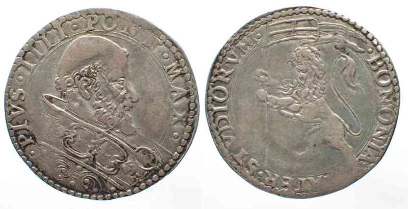 1559-1565 Vatikan - Bologna PAPAL BOLOGNA Bianco PIUS IV de Medici (1559-1565) silver VF # 62798 VF
