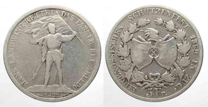 ZUG-5-Franken-1869-SCHUTZENTALER-Silber-SELTEN-62960