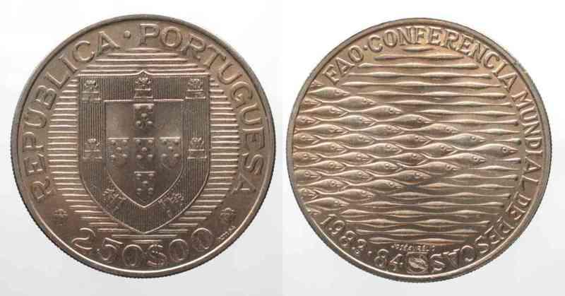 Portugal PORTUGAL 250 Escudos 1984 F.A.O. FISHERIES CONFERENCE Cu-Ni UNC RARE! # 63586  1984 st