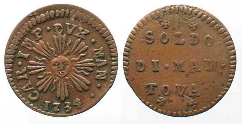 Italien - Mantua Italy MANTUA Soldo 1734 copper VF+ # 64098  1734 ss+ 