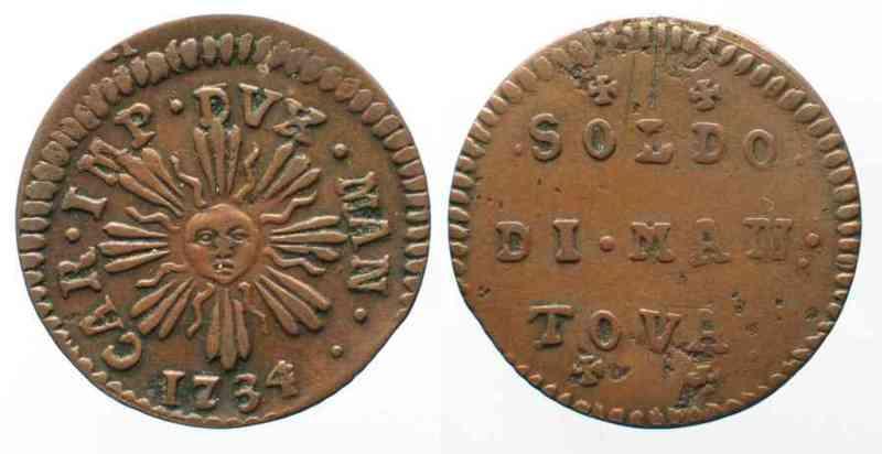 1734 Italien - Mantua Italy MANTUA Soldo 1734 copper VF+ # 64098 VF+