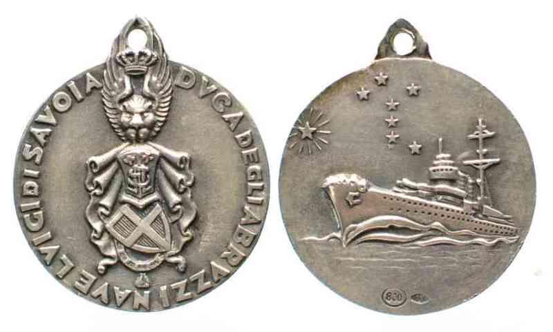 Italien - Medaillen NAVE LUIGI DI SAVOIA DUCA DEGLI ABRUZZI Medaglia c.1937 silver 20mm XF # 64107  1937 vz