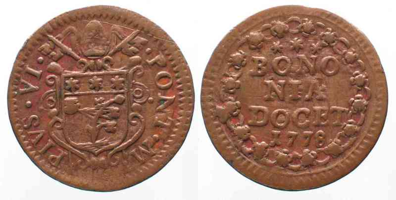 1778 Vatikan - Bologna PAPAL BOLOGNA Quattrino 1778 PIUS VI copper VF+ # 64111 VF+