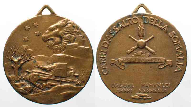 1936 Italienisch Somaliland 2nd ITALO-ETHIOPIAN WAR Medal c.1936 TANKS OF SOMALIA bronze VF-XF RARE! # 64112 VF-EF