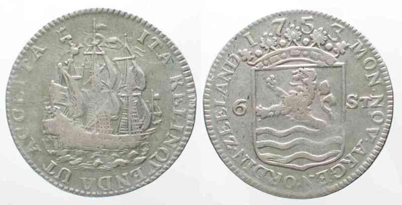 Niederlande - Zeeland NL - ZEELAND 6 Stuivers SCHEEPJESSCHELLING 1753 silver VF SCARCE!!! # 64148  1753 ss