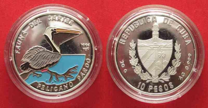 Kuba CUBA 10 Pesos 1994 Pelican CARIBBEAN FAUNA silver 20g COLORED # 64550  1994 PP