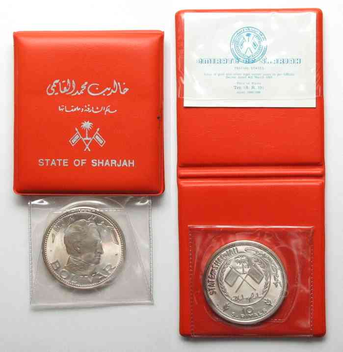 1970 Schardschah SHARJAH 10 Riyals 1970 BOLIVAR silver 30g w. folder & cert. Proof RARE!!!# 69575 Proof