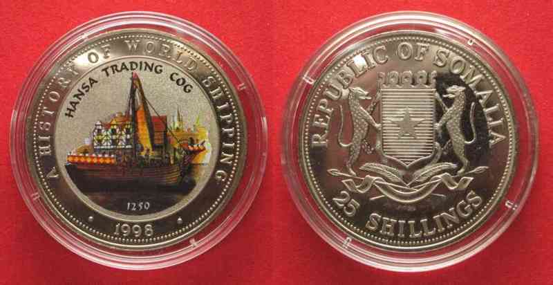 Somalia SOMALIA 25 Shillings 1998 Hansa trading cog SHIPS Cu-Ni COLORED Proof # 71427  1998 PP