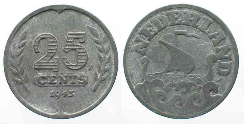 Niederlande NETHERLANDS 25 Cents 1943 GERMAN OCCUPATION zinc aXF SCARCE YEAR!!! # 71842  1943 f.vz