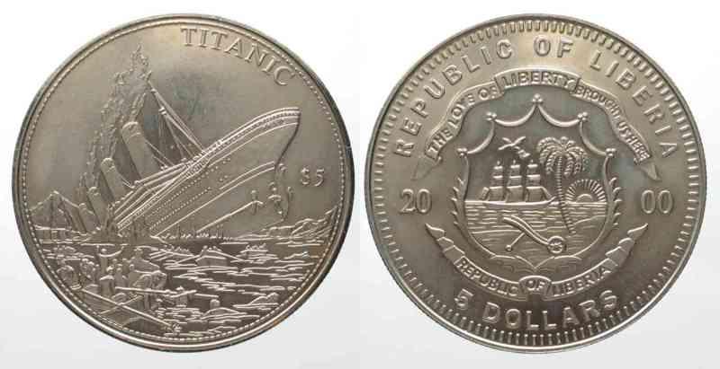 Liberia LIBERIA 5 Dollars 2000 TITANIC Cu-Ni UNC # 73877  2000 st