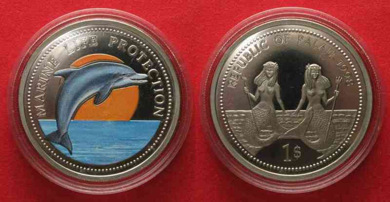 Palau PALAU 1 Dollar 1998 Dolphin MARINE LIFE PROTECTION Cu-Ni COLORED SCARCE! # 74258  1998 PP