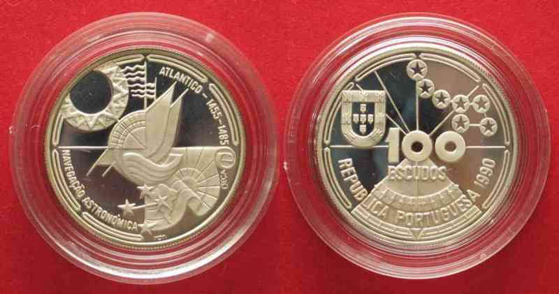 Portugal PORTUGAL 100 Escudos 1990 CELESTIAL NAVIGATION silver Proof # 74340  1990 PP