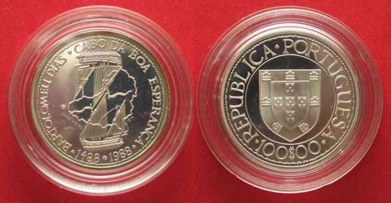 Portugal PORTUGAL 100 Escudos 1988 BARTOLOMEU DIAS silver Proof # 74344  1988 PP