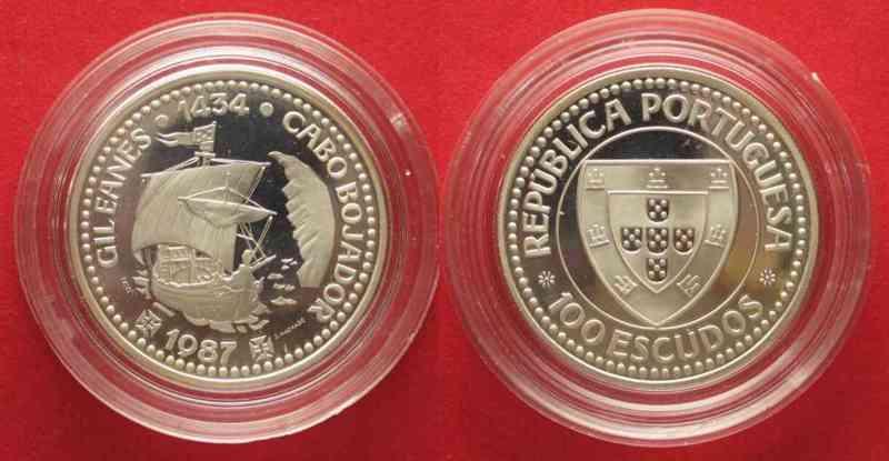 Portugal PORTUGAL 100 Escudos 1987 CAPE BOJADOR silver Proof # 74345  1987 PP