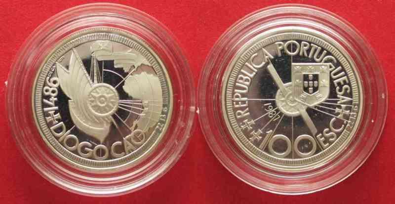 Portugal PORTUGAL 100 Escudos 1987 DIOGO CAO silver Proof # 74348  1987 PP